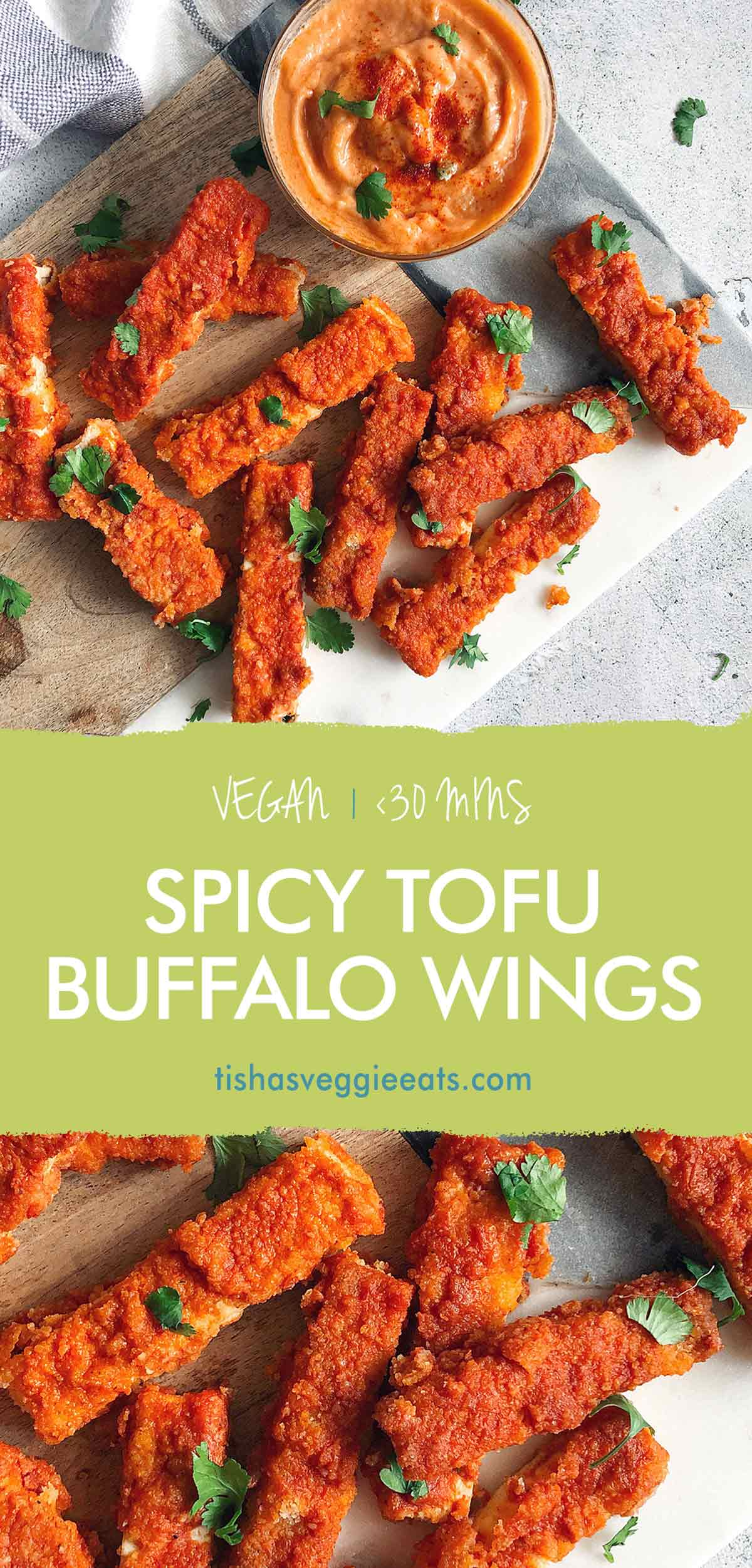 spicy tofu buffalo wings on cutting board with spicy mayo dipping sauce pinterest image