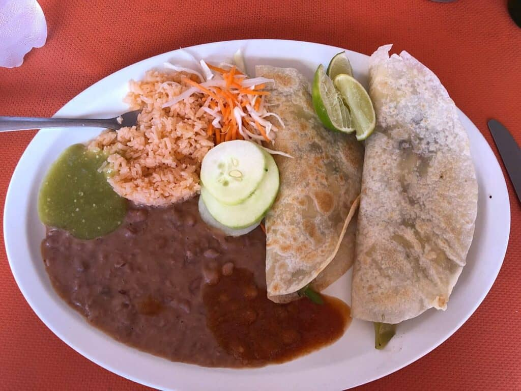 mexican food in plate with rice and beans