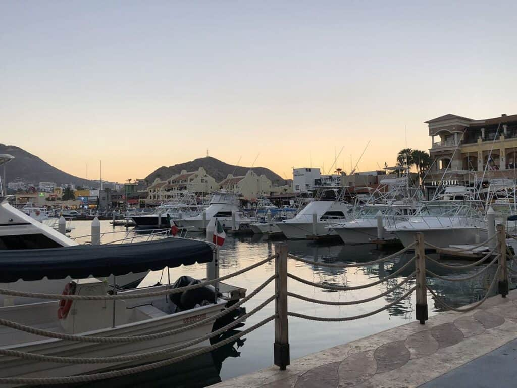 sunset over marina in cabo