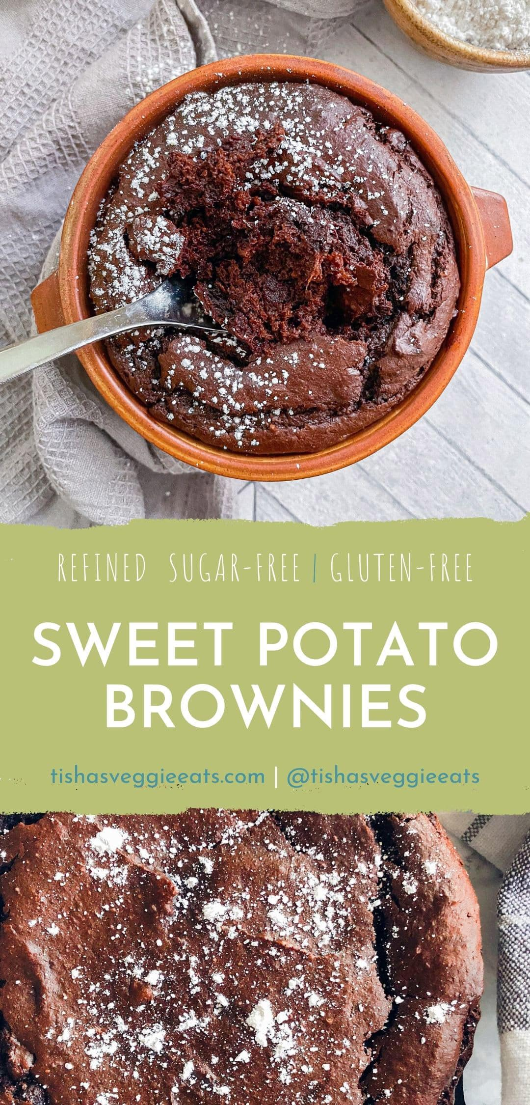 sweet potato brownies in ramekin with silver spoon dug in to the center with powdered sugar bowl in the corner pinterest image