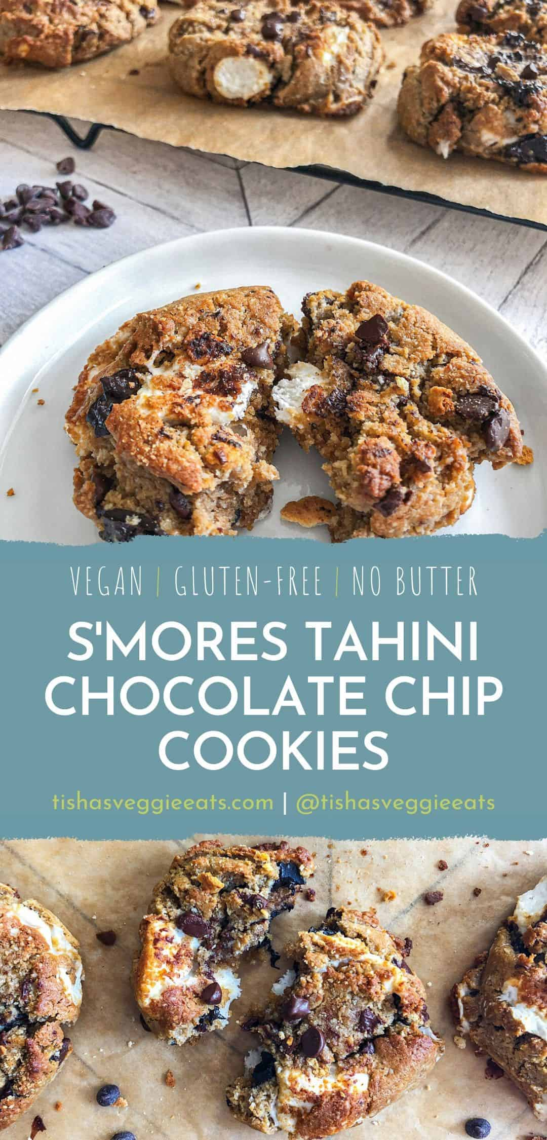 cut shot of smores tahini chocolate chip cookie with cookies in the background on parchment lined cooling rack
