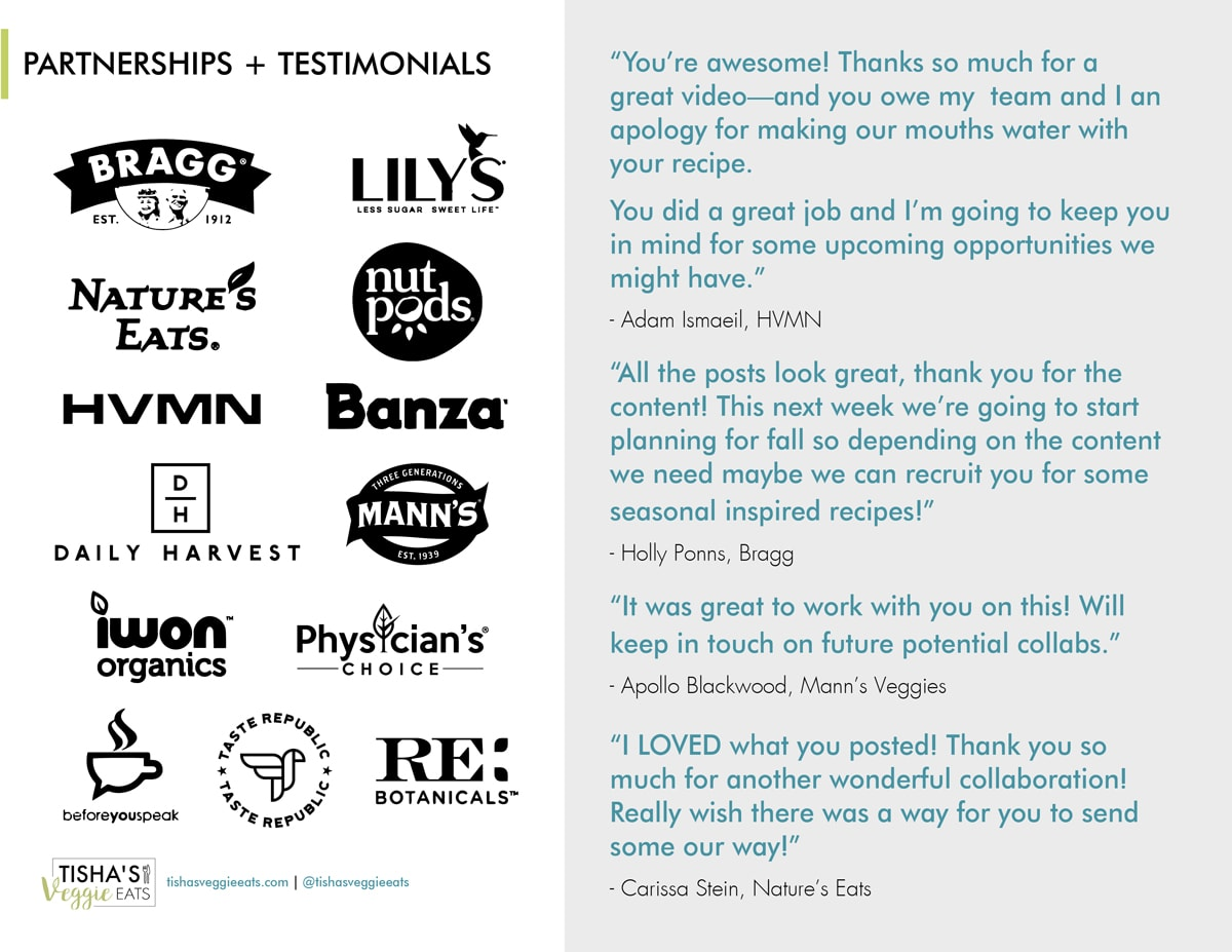 Tisha's Veggie Eats pdf page with brand partnership logos and testimonial quotes work with me