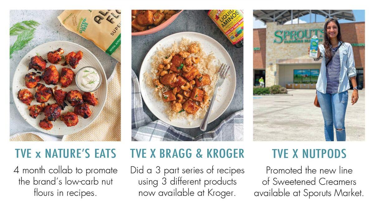 Tisha's Veggie Eats pdf page with brand partnership posts work with me
